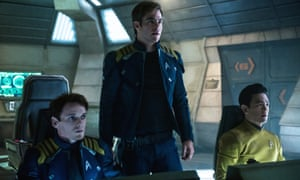 Anton Yelchin, Chris Pine and John Cho in Star Trek Beyond.