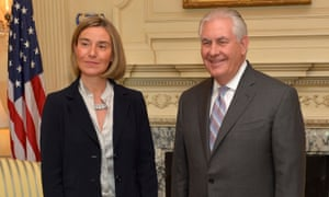 The US secretary of state, Rex Tillerson, greets Federica Mogherini prior to their bilateral meeting.
