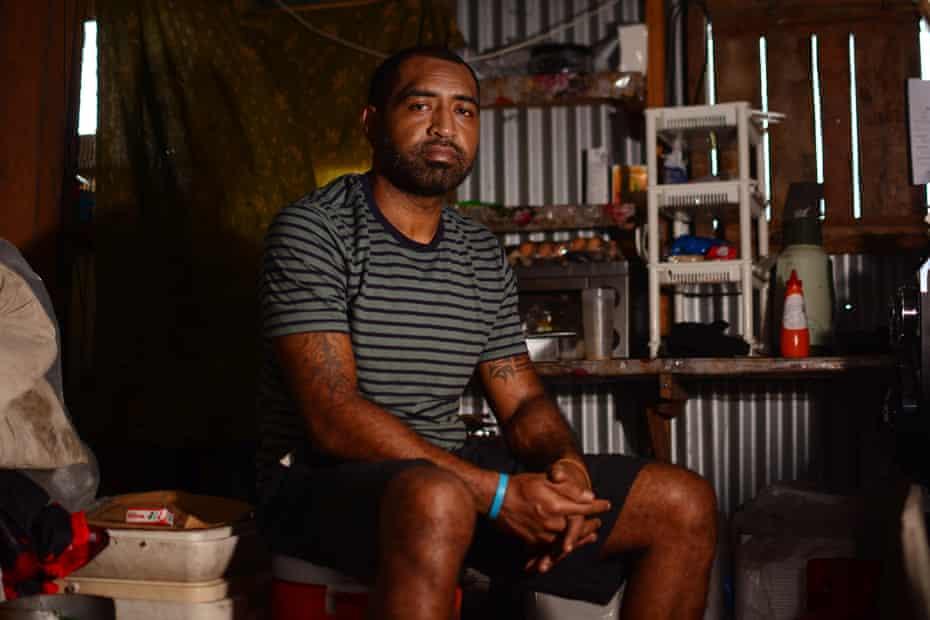 Annexed British Army veteran Isei Vono sitting inside his home in Suva, Fiji. Picture: Jovesa Naisua/The Guardian