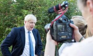 Boris Johnson visiting the town on Friday.