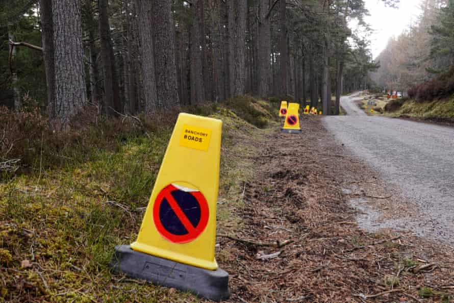 Scotland prepares for hordes of visitors with a forest of traffic cones to keep parking cars of the verges.