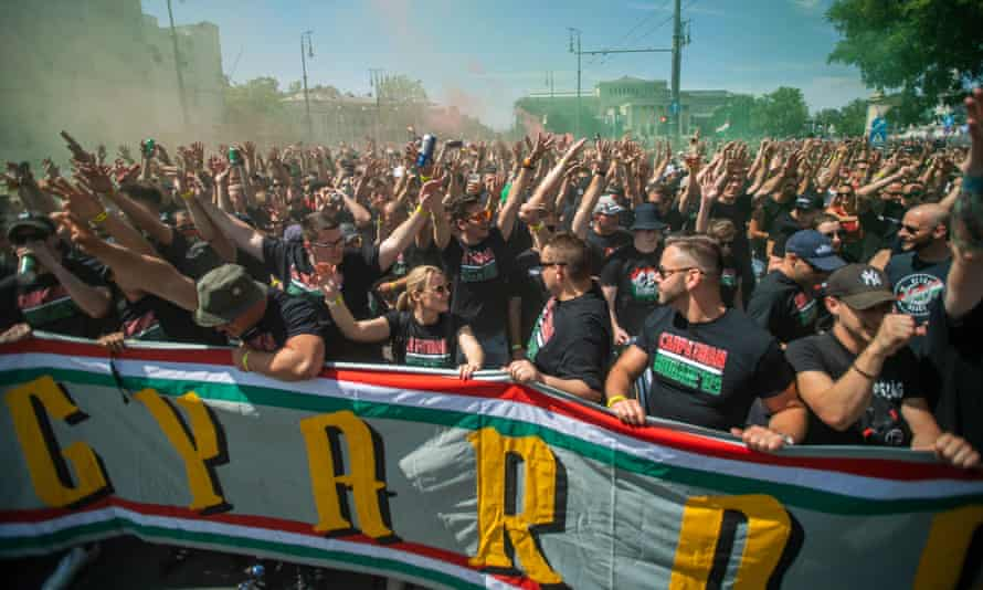 Members of the Carpathian Brigade march towards Hungary's Euro 2020 game against Portugal in Budapest in June.