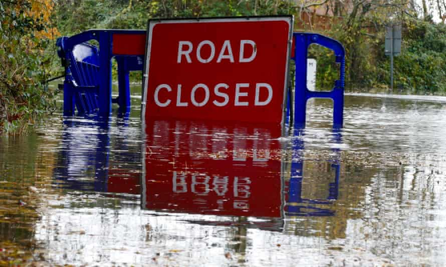 Heavy rainfall closed the ford at Lands End Charvil in Berkshire.