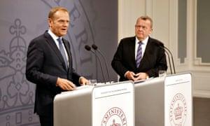 Donald Tusk and Danish prime minister Lars Lokke Rasmussen