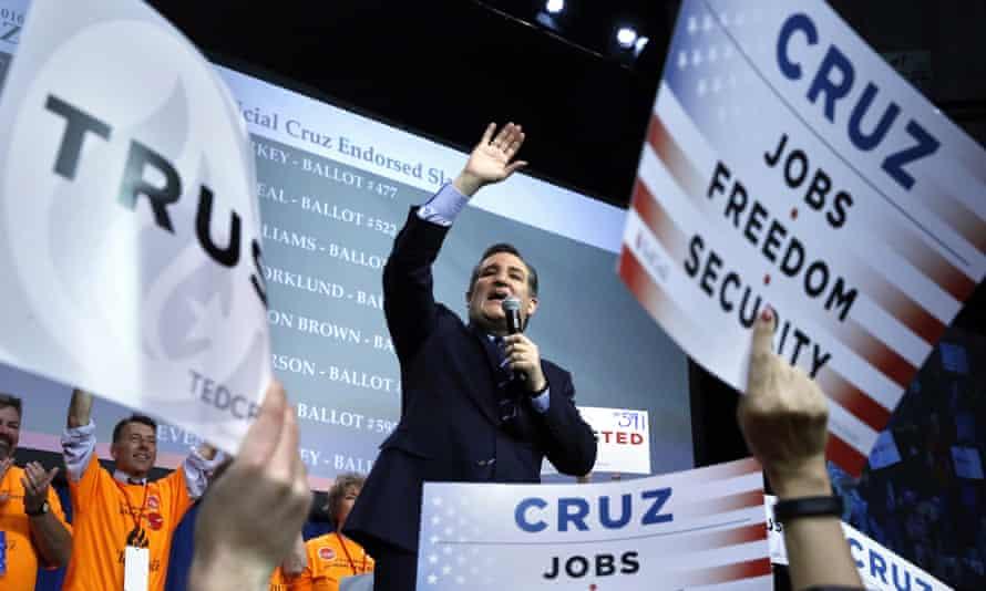 Ted Cruz speaks at the Colorado Republican state convention, in Colorado Springs on Saturday.
