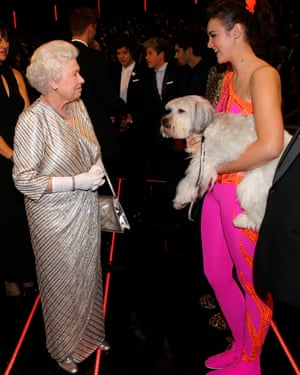 The Queen meets Ashleigh and her performing dog Pudsey at the Royal Variety Performance.