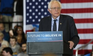Bernie Sanders at an earlier campaign rally.