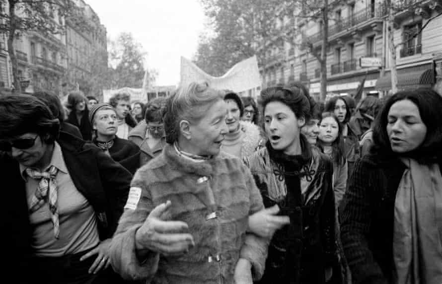 Simone de Beauvoir, centre, at a demonstration for women's abortion rights in Paris, c1972.