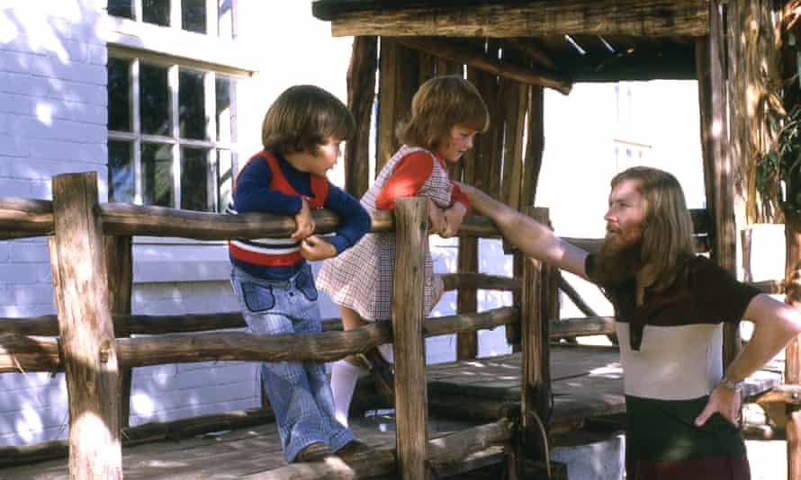 Gina Wilkinson with her father and younger brother. Midland, June 1975.