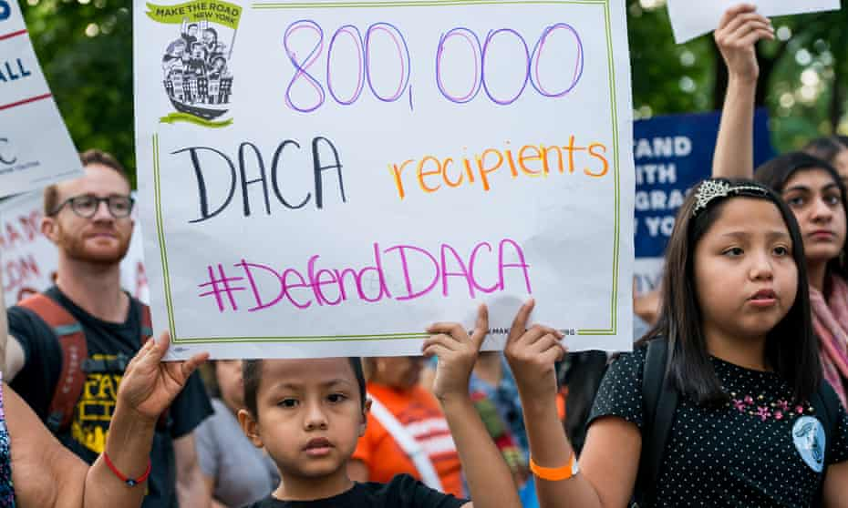 Activists rally in New York against the potential end of Daca.