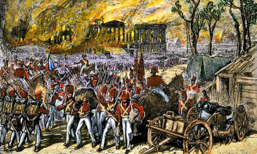 Capture and burning of Washington DC by the British in 1814 during the War of 1812.
