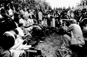 1980: Mugabe holds a press conference at his home after winning the first election held in Rhodesia.