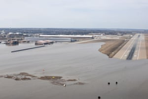An aerial view of Offutt Air Force Base and the surrounding areas affected by flood waters in NebraskaOffutt Air Force Base and the surrounding areas affected by flood waters are seen in this aerial photo taken in Nebraska, U.S., on March 16, 2019. Picture taken on March 16, 2019.