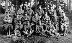 Wilfred Owen and fellow officers of the 5th battalion of the Manchester Regiment at Witley North Camp in Surrey in 1916.