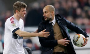 Pep Guardiola and Thomas Müller