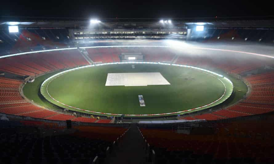 The Narendra Modi stadium in Ahmedabad was the venue for the Indian Premier League match on Monday.