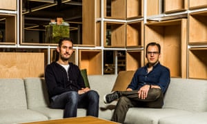 Instagram's founders, Kevin Systrom, left, and Mike Krieger, at the company's headquarters in Menlo Park, Calif.