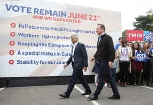 Khan and Cameron walk past Britain Stronger in Europe's list of five pledges.