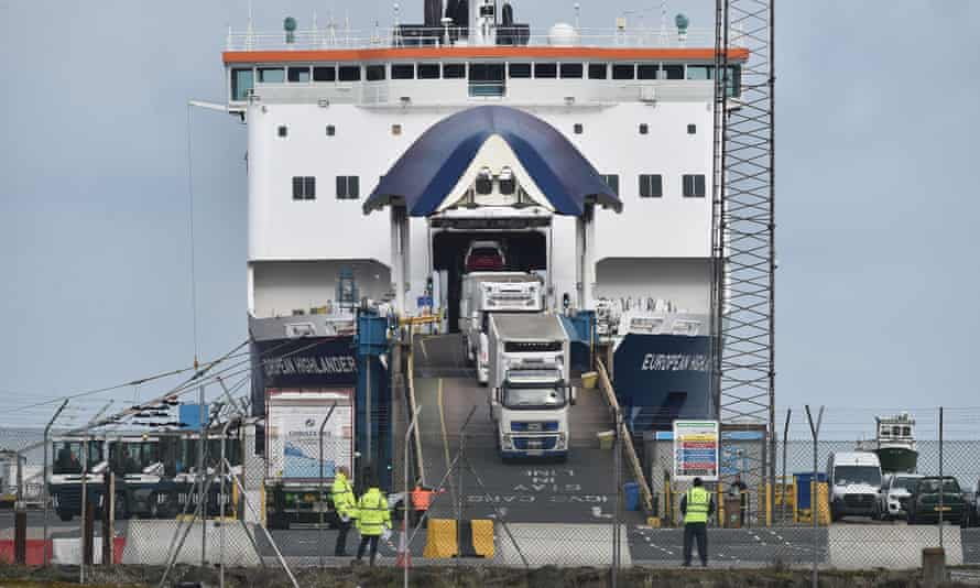 Freight arrives on a ferry Larne, Northern Ireland. 'Brexit was always going to entail new barriers and frictions,' writes Naomi Long.