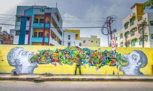In November 2016, not-for-profit organisation St+art India invited artists to paint walls along the streets of a colony known as MS Maqtha in Hyderabad. Anila Kumar's two faces might look like they are spouting rubbish, but it's actually an exchange of thoughts and ideas. St+art aims to make art accessible by putting it in the public domain, rather than in galleries.