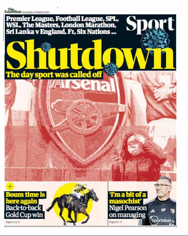 The front of Guardian Sport's print edition on 14 March 2020