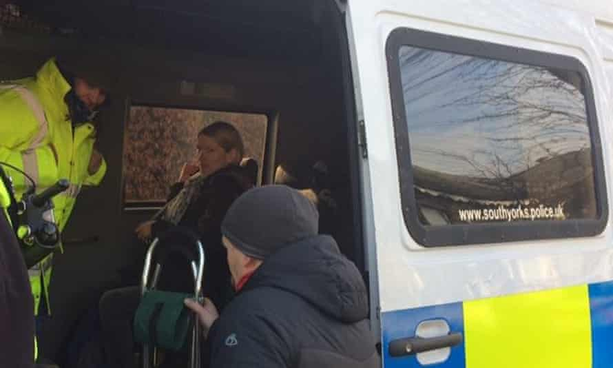 Green party councillor Alison Teal in the back of a police van in Sheffield