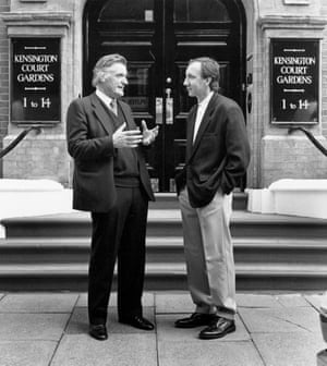 Ted Hughes and Pete Townshend, then an editor at Faber, outside the flat in Kensington that TS Eliot and Valerie moved into after their marriage.