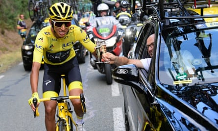Egan Bernal and Brailsford share a glass of champagne before the rider claimed victory at the 2019 Tour de France