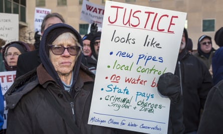 A January 2016 protest in Lansing, Michigan over the Flint water crisis.