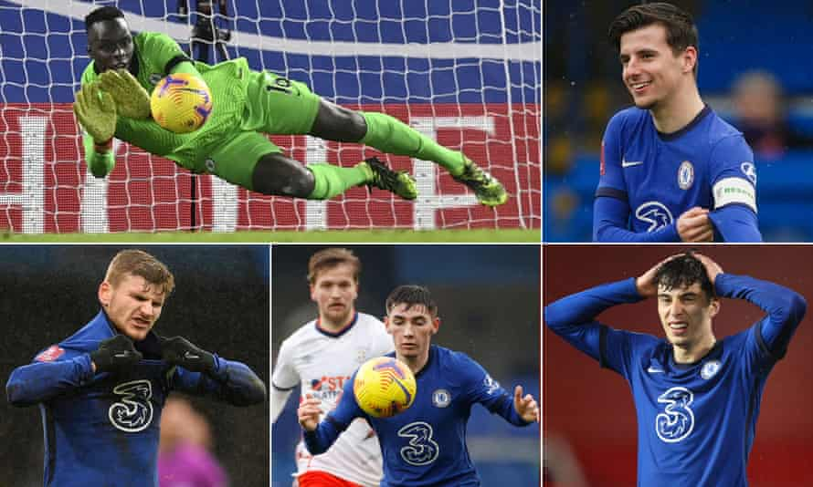 Clockwise from top left: Edouard Mendy makes a save; Mason Mount adjusts his captain armband; Kai Havertz cuts a frustrated figure; Billy Gilmour in action; and Timo Werner reacts after having his penalty saved against Luton