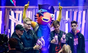 Resounding success ... Fish Fam celebrates after winning the Fortnite World Cup creative tournament.