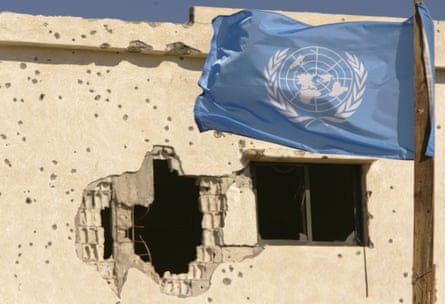 A UN flag placed by Ghanian peacekeepers with the United Nations Interim Forces in Lebanon (UNIFIL)