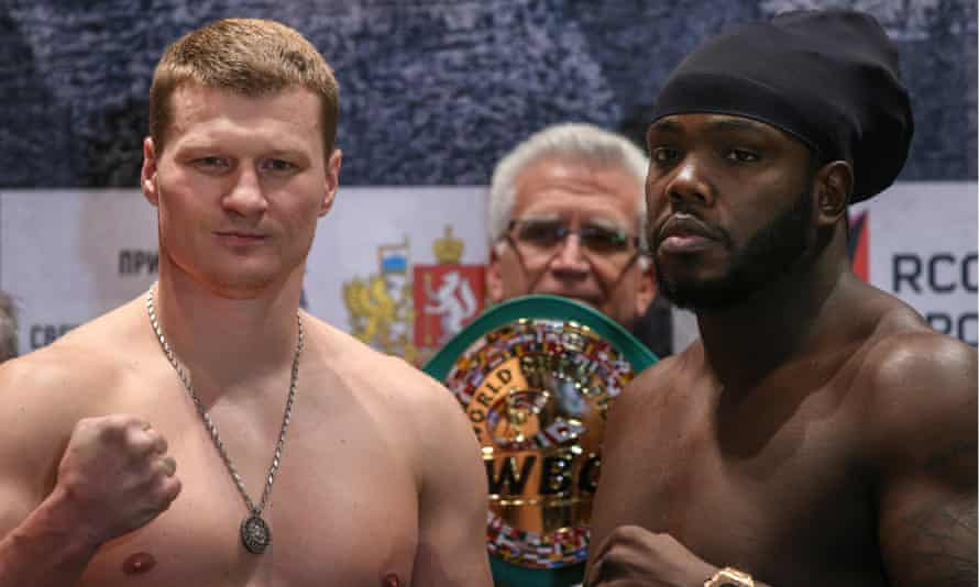Russian boxer Alexander Povetkin (L) and Haitian-Canadian boxer Bermane Stiverne (R) at an official weigh-in ceremony for the now cancelled interim WBC heavyweight title fight.