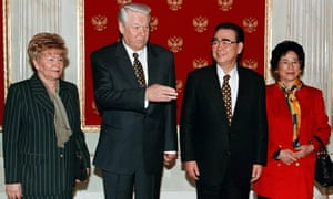 Li Peng, with his wife, Zhu Lin, meeting President Boris Yeltsin and his wife, Naina, at the start of international talks in Moscow in 1998.