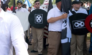 """James Alex Fields, second left with shield, at the """"Unite the Right"""" rally in Charlottesville, Virginia on 12 August 2017."""