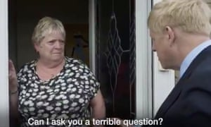 In a still from his recent campaign video, Johnson is seen with a woman who admits she is not a Tory voter..