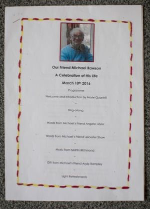 the programme for a celebration of Michael Rawson's life