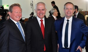 Andrew Forrest, former CEO of Fortescue Metals, the prime minister, Malcolm Turnbull, and the opposition leader, Bill Shorten
