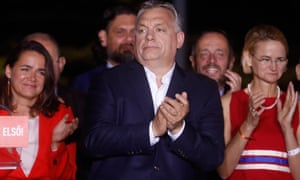 Viktor Orbán meets supporters after a big win for his Fidesz party