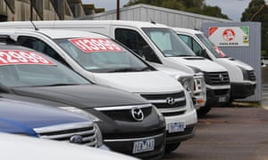 Used cars at a dealership in Melbourne