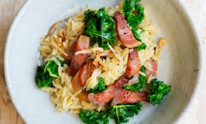 'Guanciale offers an interesting note': orzo with guanciale and kale.