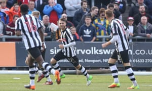 Jorge Grant celebrates after scoring for Notts County against Newport County.