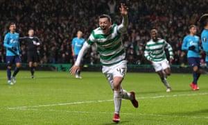 Celtic's Callum McGregor celebrates scoring the winner.