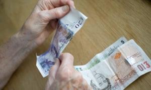 retired pensioner saving her money