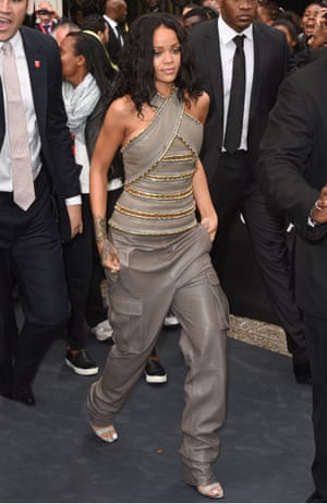 Rihanna wore a Balmain outfit to a fragrance launch in Paris just a few days after it was first shown on the catwalk.