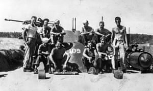 JFK, far right, and crewmen of the PT 109 serving in the Solomon Islands during World War II in 1943