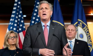 Republican House minority leader Kevin McCarthy speaks at a press conference.