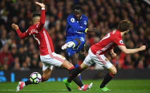 Romelu Lukaku, centre, here in action against Manchester United, had expected to return to Chelsea.