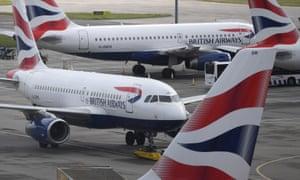 Grounded British Airways planes at Heathrow during the coronavirus lockdown in England.