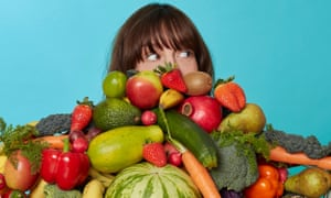 Zoe Williams with lots of fruit and veg